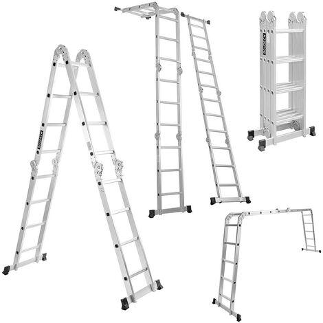 Boudech - RIG-4x4 Escalera plegable polivalente de aluminio con plataforma de andamio