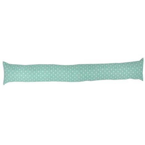 Boudin de porte 100% coton imprimé SCANDI - 90x10 cm - Vert d'eau et blanc Generique