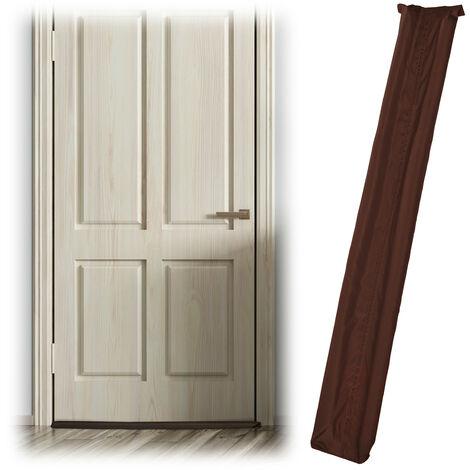 Boudin isolant pour les portes, sur 2 côtés, contre les courants d'air et le froid, en tissu, 90 cm, marron