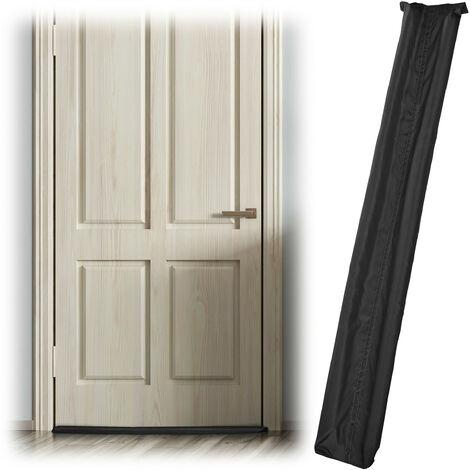 Boudin isolant pour les portes, sur 2 côtés, contre les courants d'air et le froid, en tissu, 90 cm, noir