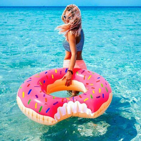 Bouée Gonflable Géante en Forme de Donut Croqué