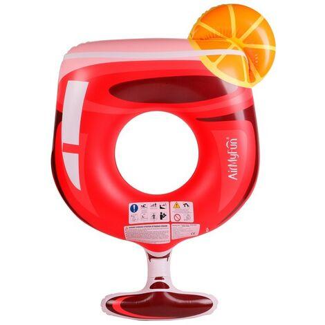 Bouée Gonflable Ronde XXL pour Piscine & Plage Ultra Confort, Flotteur Deluxe - Cocktail Passion ø158cm - Rouge