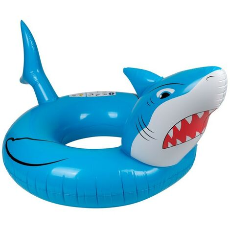Bouée Gonflable Ronde XXL pour Piscine & Plage Ultra Confort, Flotteur Deluxe - Requin ø115cm - Bleu
