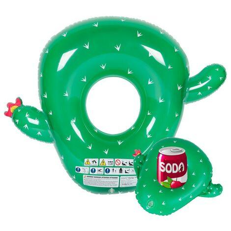 Bouée Gonflable XXL et Porte Boisson Gonflable pour Piscine & Plage - Pack Evasion Cactus - Multicolore