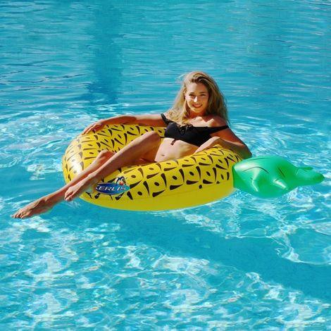 Bouée piscine ananas gonflable Diam.100cm KERLIS - Jaune - Extérieur