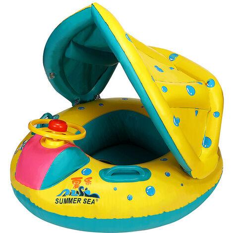 Bouée Siège Gonflable Parasol à Bébé Enfant 6-18 Mois 15kg Piscine Natation Fauteuil Baignoire Jouet