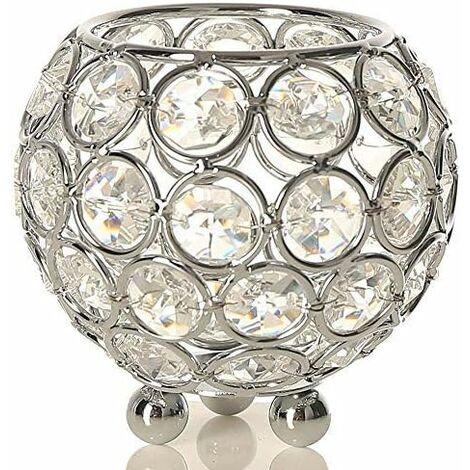 Bougeoir Cristal Transparent de Bol Rond pour Decoration de Table Mariage Vase(8cm de Diamètre,Argent)-Convient aux Bougies LED/Chauffe-Plat