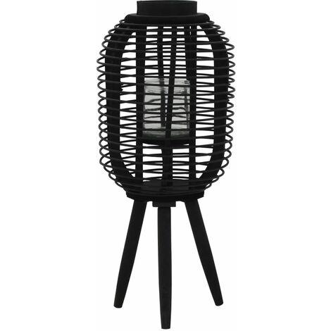 Bougeoir debout porte-bougie bambou noir décoration extérieur 27,5x37 cm - noir