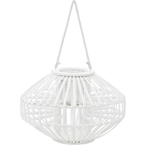 Bougeoir suspendu ou lanterne sur pied porte-bougie osier blanc décoration extérieur