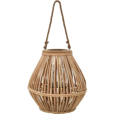Bougeoir suspendu ou lanterne sur pied porte-bougie osier décoration extérieur
