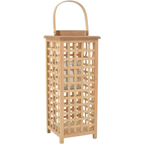 Bougeoir suspendu porte-bougie bambou naturel décoration extérieur hauteur 49 cm