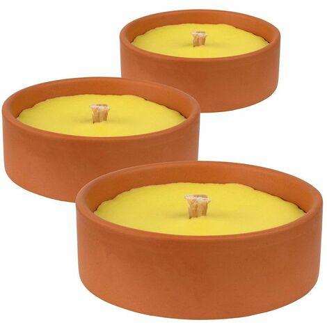 Bougie anti moustique citronnelle terre cuite x3 - Alu