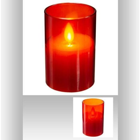 Bougie LED cire flamme - 5 x 7.5 cm - Rouge Feeric Light & Christmas