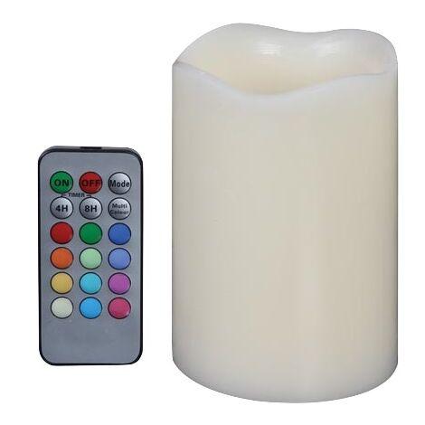 Bougie LED finition cire avec changement de couleur