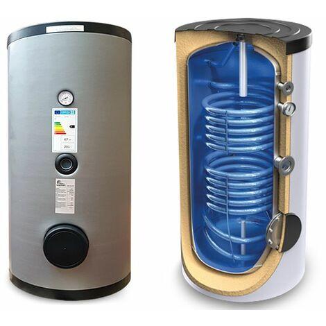 Bouilloire, réservoir vitrifié de 200 lt, avec deux échangeurs fixes, pour la production d'eau chaude à partir du solaire thermique