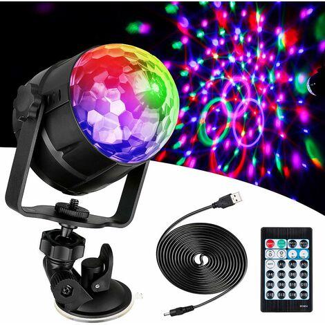 Boule à facettes LED à 15 lumières Disco effet de lumière 360° RVB Rotatif Feux de Fête Disco Ball avec Câble USB pour Noël, Enfants Anniversaire