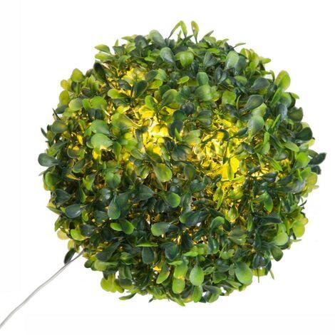 Boule de buis 10 LED Ø 18 cm - Vert