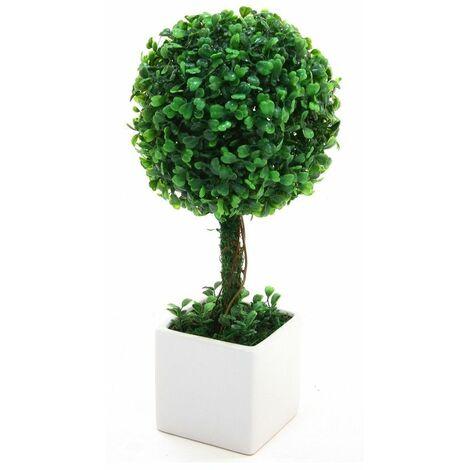 Boule de buis - Plante artificielle avec pot en céramique - D 18 cm