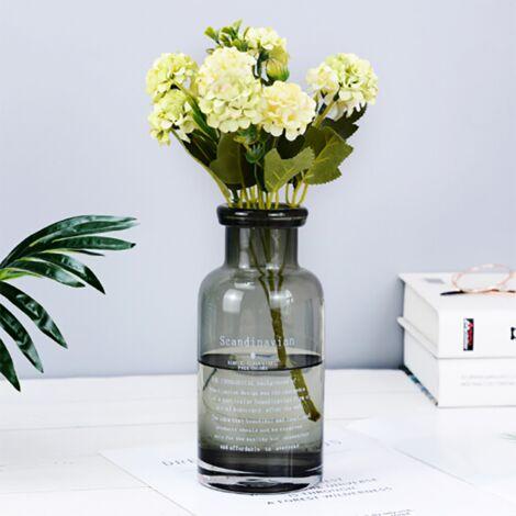 Boule de carat vert clair chrysanthème simulation bouquet fausse fleur soie décoration (Non compris la bouteille)