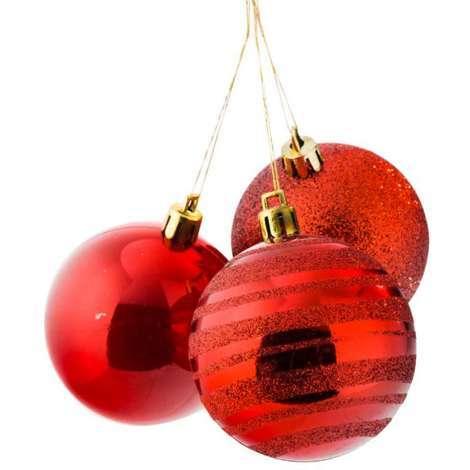 Boule de Noël rouge les 9 pièces