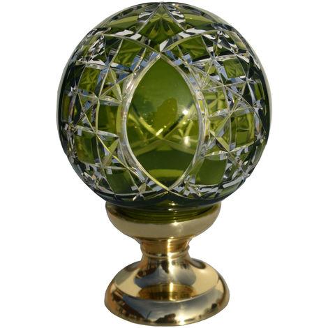 Boule de rampe cristal vert Mousson