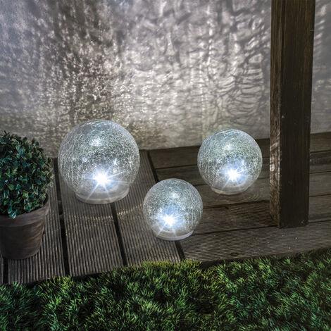 """main image of """"Boule de verre solaire lot de 3 lampes de jardin LED lampe solaire en verre, esotec 102082"""""""