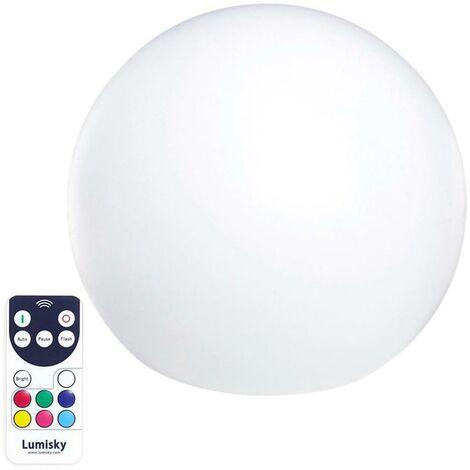 """main image of """"Boule lumineuse sans fil multicolore BOBBY blanc plastique 60cm"""""""