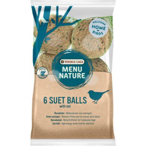 Boules de graisse pour oiseaux de la nature Versele Laga Menu Nature - Sachet de 6 boules de 90 g avec filet