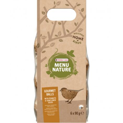 Boules de graisse pour oiseaux sauvages Versele Laga Menu Nature - Lot de 6 Saveur Noix