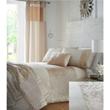 Boulevard Crushed Velvet Cream Quilt Double Duvet Cover Bedding Set