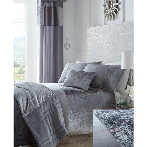 Boulevard Crushed Velvet Silver Grey Quilt King Size Duvet Cover Bedding Set