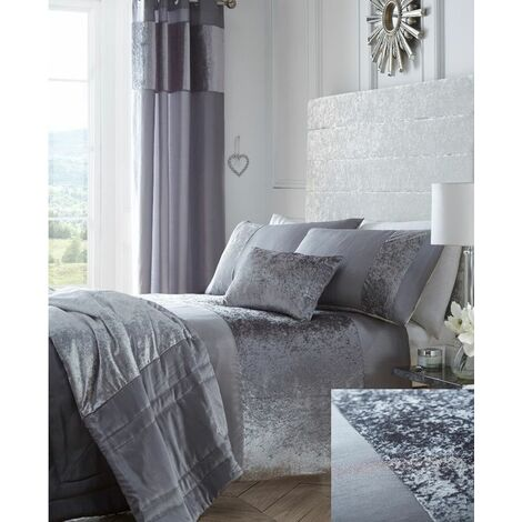 Boulevard Crushed Velvet Silver Grey Quilt Super King Size Duvet Cover Bedding Set