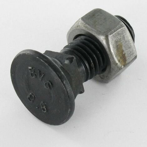 BOULON CHARRUE TFCC/TETE FRAISEE COLLET CARRE M12X35 CLASSE 8.8 ACIER BRUT