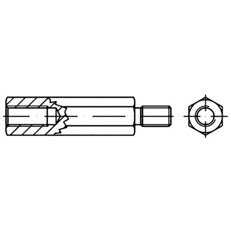 Boulons décartement six pans TOOLCRAFT 149945 Acier galvanisé M3