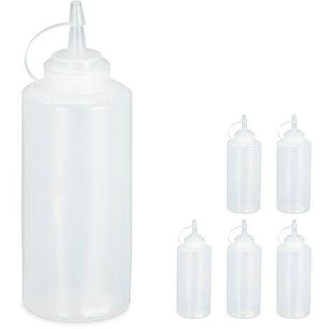 Bouteille à sauce, lot de 6, 450 ml, squeeze bottle à remplir, plastique, ketchup, mayonnaise, transparent