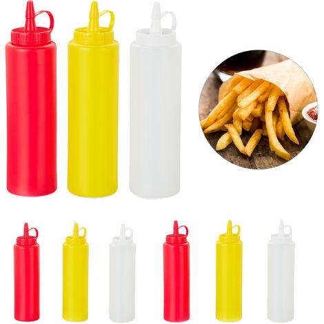Bouteille à sauce, lot de 9, rechargeable, 400 ml, squeeze bottle, récipient plastique, rouge/jaune/blanc