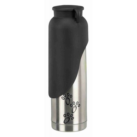 Bouteille avec écuelle, isol., acier inox./plast. - 500 ml, argent/noir