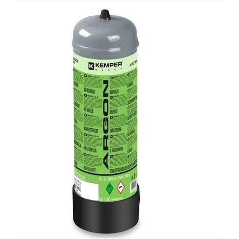 Bouteille de gaz Argon+CO2 110 Bar 2.2 Litres KEMPER Soudage semi-automatique MIG-Bonbonne gaz Grande contenance Jetable