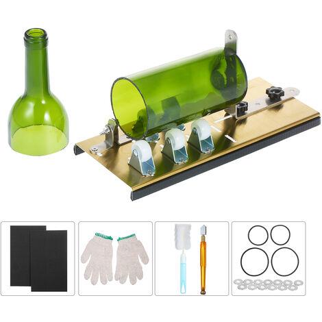 Bouteille en verre Cutter Kit bouteille Cutter bricolage machine pour la coupe bouteilles ovale ronde et Mason Jars, Ensemble de coupe-bouteille 6pcs