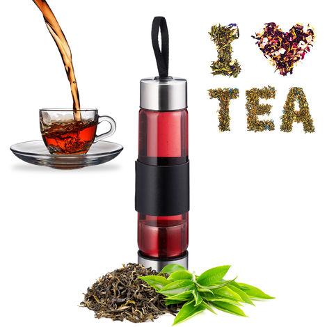 bouteille infuseur thé av. passoire, eau, thé, smoothie, bouteille portable, verre, inox, 450 ml, argenté/noir