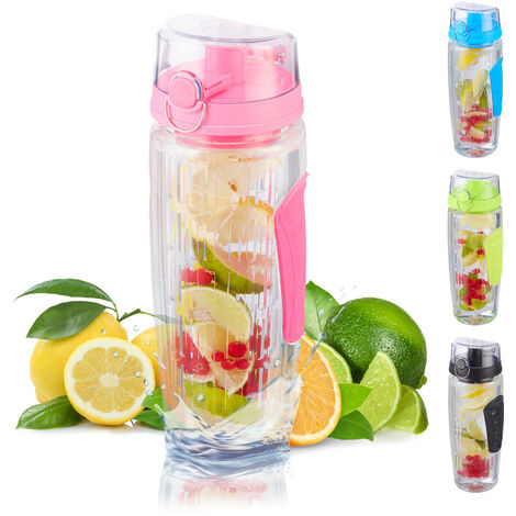 Bouteille pour de l'eau infusée aux fruits, Sans BPA, étanche, 900ml, gourde, eau fruitée, diverses couleurs