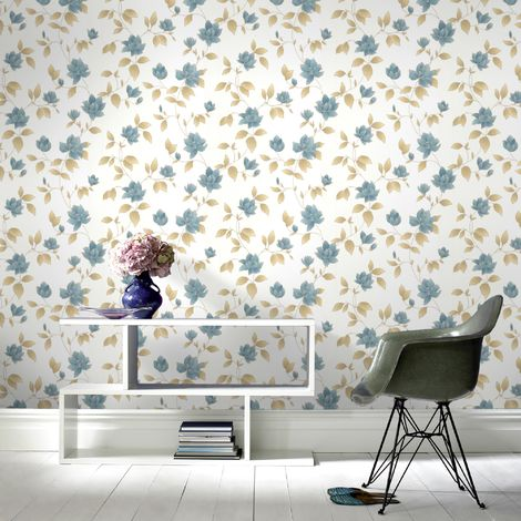 Boutique Amy Textured Floal Teal Wallpaper (Was £23)