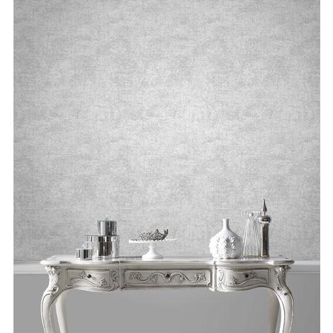 Boutique Balmoral Silver Metallic Textured Plain Wallpaper Was