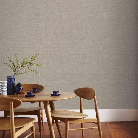 Boutique Beige Chenille Textured Plain Wallpaper