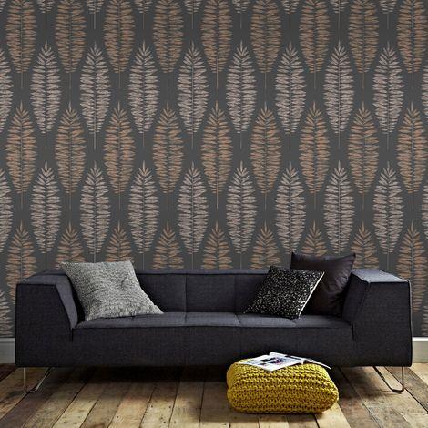 Boutique Black / Copper Lucia Leaf Motif Metallic Wallpaper