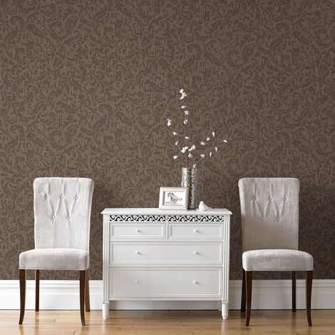 Boutique Cashmere Chocolate And Copper Metallic Wallpaper (Was £24)