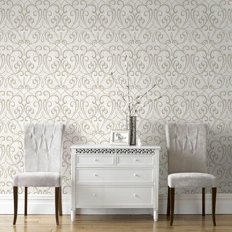 Boutique Cream/Pale Gold Cork Damask Luxury Wallpaper
