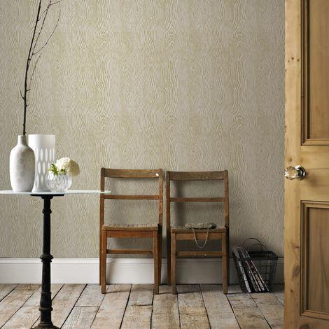 Boutique Cypress Scandinavian Wood Grain Effect Beige/Gold Wallpaper (Was £25)