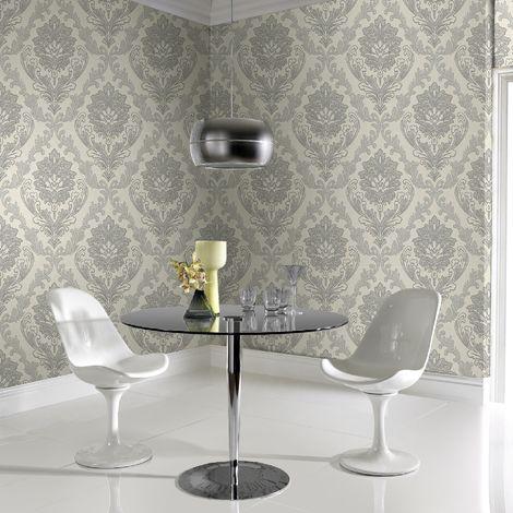 Boutique Dark Silver Corsetto Damask Luxury Wallpaper