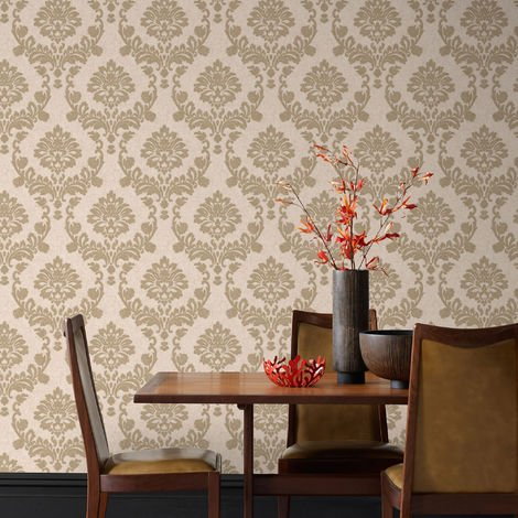 Boutique Dynasty Gold / Natural Wallpaper